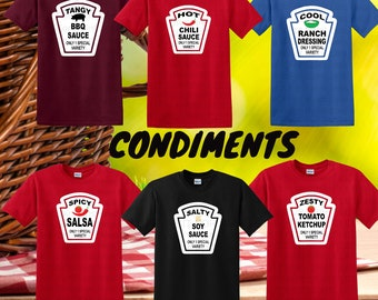Group Condiment Shirts, Matching Condiment Halloween Costume Party Shirt, Ketchup, Mustard Relish Tshirts, Condiment Shirts for Families