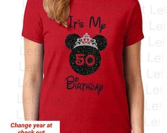 Disney Birthday Shirt, Women's Minnie Mouse Shirt, Disney Shirts, Disney Birthday Glitter Shirt, It's My Birthday Minnie Glitter Shirt, gift