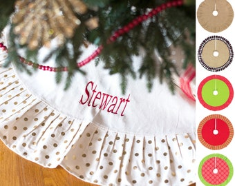 7494228083 Monogrammed Christmas Tree Skirt , Personalized Christmas Tree Skirt,  Monogrammed Holiday Decor, Burlap Tree Skirt