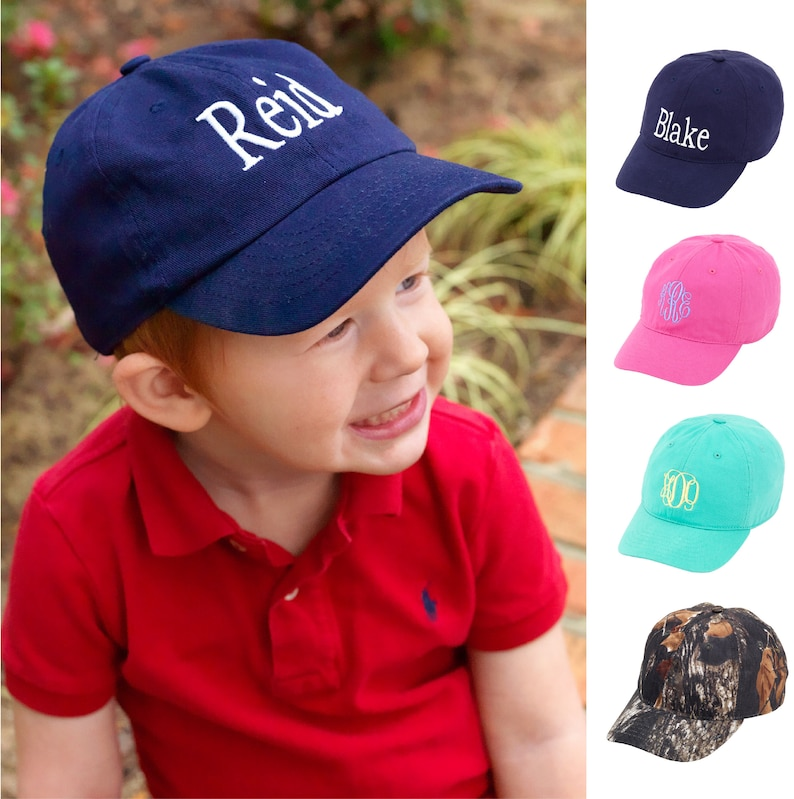 a25b3bbf Monogrammed Kids Baseball Hat Personalized Kids Baseball Cap | Etsy