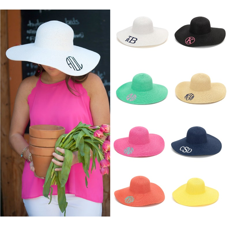 a6267958504f3 Monogrammed Floppy Hats Personalized Floppy Hat Floppy Sun