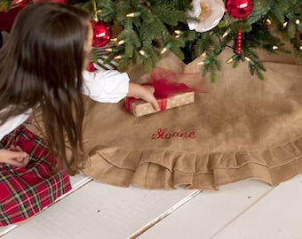 Monogrammed Christmas Tree Skirt, Personalized Embroidered Burlap Christmas Tree Skirt, Monogrammed Holiday Decor, Burlap Tree Decorations