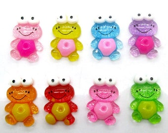 resin cabochons 2pcs frog purple 24x16mm