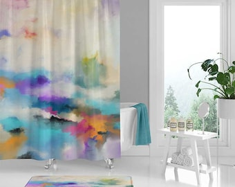 Abstract Art Shower Curtain And Bath Mat Coastal Blue Purple Green Yellow Modern Bathroom Decor