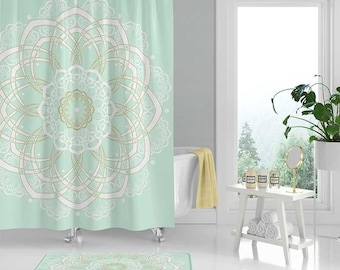 Bohemian Shower Curtain Mandala Curtains Bath Mat White Yellow Mint Green Set Boho Bathroom