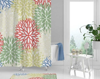 Green Shower Curtain And Bath Mat Floral Blue Red Beige Bathroom Decor Modern Rug