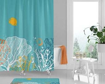 Underwater Shower Curtain Coral Reef Curtains And Bath Mat Teal Blue Orange Tropical Fish Ocean Theme Bathroom