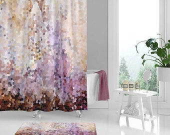 Abstract Shower Curtain And Bath Mat Set Bathroom Decor Purple Pink Brown Yellow Curtains Mosaic