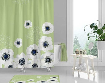 Gray Shower Curtain Set Bath Mat Grey Blue White Floral