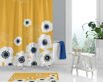 Yellow Shower Curtain With White And Blue Flowers Floral Bath Mat Boho Bathroom Decor