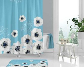 Floral Shower Curtain Set Bathroom Rug White Light Blue Bath Decor Boho Curtains Mat