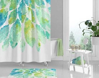 Shower Curtain Mint Green Aqua Blue White Bath Mat Mosaic Curtains Floral Bathroom Decor