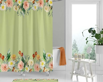 Floral Shower Curtain With Roses Bath Mat Mint Green Yellow Coral Red Flower Boho Bathroom Rug Gift