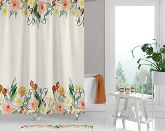 Watercolor Shower Curtain Floral Bathroom Rug White Cream Yellow Coral Pink Roses Bath Decor