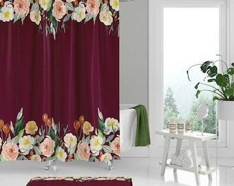 Floral Shower Curtain Set Bath Mat Dahlia Mustard Yellow Etsy