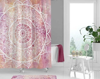 Mandala Shower Curtain Set Bathroom Mat Yellow White Pink Bath Boho Housewarming Gift