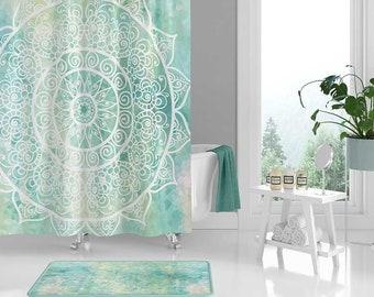 Mandala Shower Curtain Bathroom Set Bath Mat Blue Turquoise Mint Green Decor
