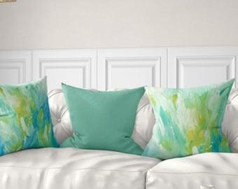 Decorative Pillows, Throw Pillow Covers, Mint Green Pillows, Yellow Blue Floral Pillow Cover Lumbar Pillow Cushion Cover Pillow Covers 20x20