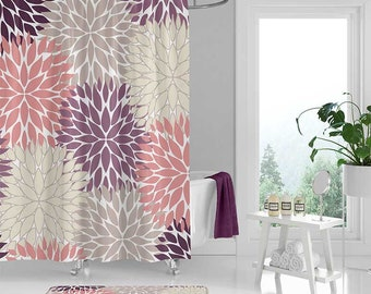 Floral Shower Curtain And Bath Mat Curtains Beige Purple Pink Bathroom Modern Decor Home