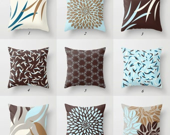 Blue And Brown Pillows Blue Pillow Covers Cushions Throw Pillows Lumbar Pillows Rectangular Pillow Decorative Pillows Geometric Cushion