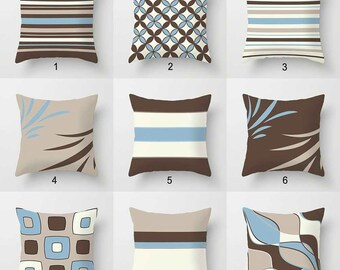Blue brown pillows   Etsy