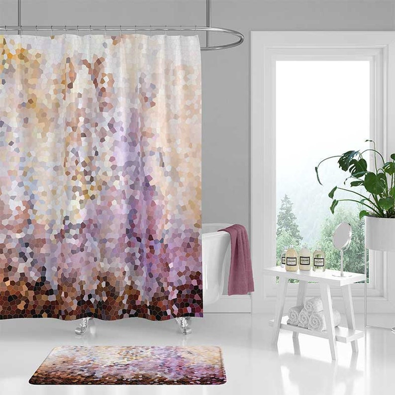 Shower Curtains Pink And Brown.Abstract Shower Curtain And Bath Mat Set Bathroom Decor Etsy