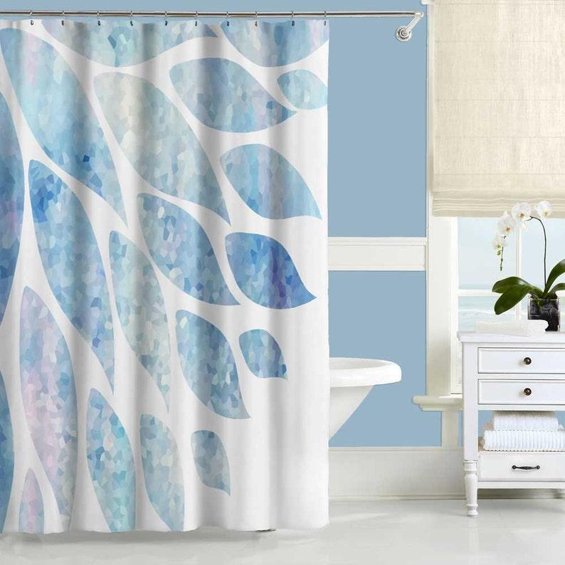Blue Shower Curtain Pink White Bathroom