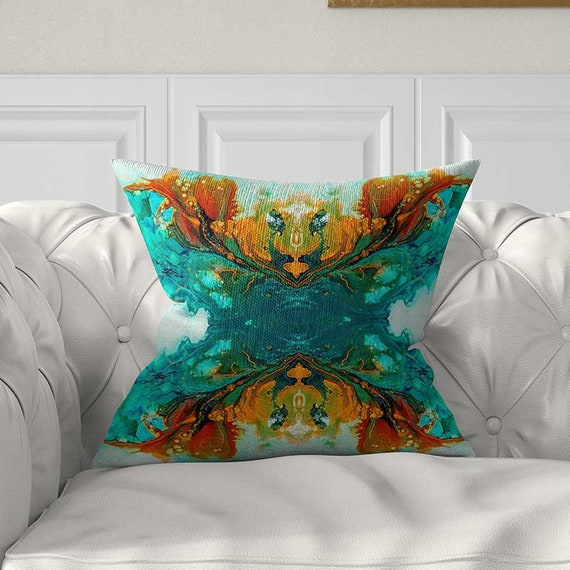 Cool Abstract Pillow Covers Turquoise Blue Green Orange Teal Throw Pillows Lumbar Pillow Cushions Pillows For Couch 20X20 18X18 16X16 14X14 Theyellowbook Wood Chair Design Ideas Theyellowbookinfo