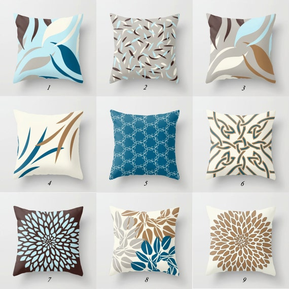 Blue Brown Pillow Covers Decorative Pillows Mix Match Pillow Etsy Gorgeous Blue And Brown Decorative Pillows
