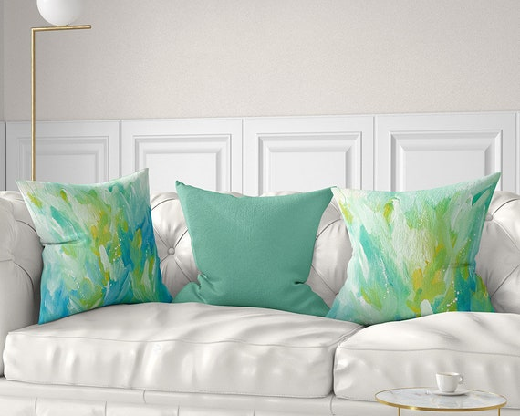 Mint Green Throw Pillow Cover Yellow