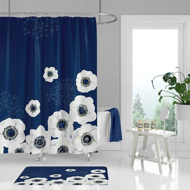 Floral Shower Curtain And Bath Mat Dark Blue Navy White Flower Cur