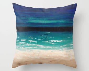 Beach Pillow Covers, Throw Pillows, Art Pillow, Ocean Pillow, Nautical Pillows, Blue Beige Teal Cushions, Pillow Covers 20x20 Home Decor