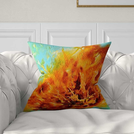 Magnificent Orange Pillow Covers 20X20 24X24 14X14 Small Pillows Large Pillows Lumbar Pillow Blue Turquoise Yellow Abstract Art Pillow Throw Pillows Pdpeps Interior Chair Design Pdpepsorg