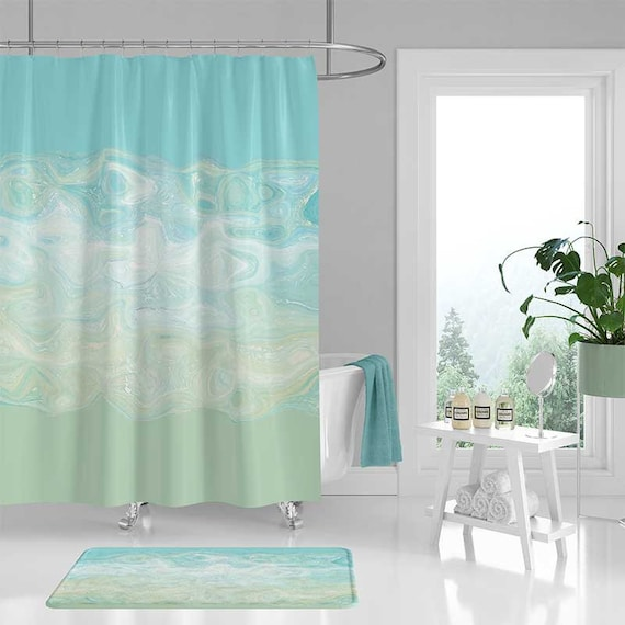 Abstract Shower Curtain Set Mint Green Aqua Blue Bath