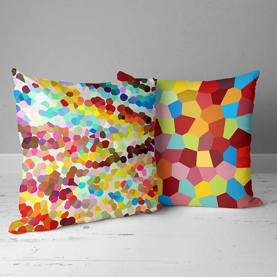 colorful outdoor pillows outdoor cushions yellow orange blue etsy