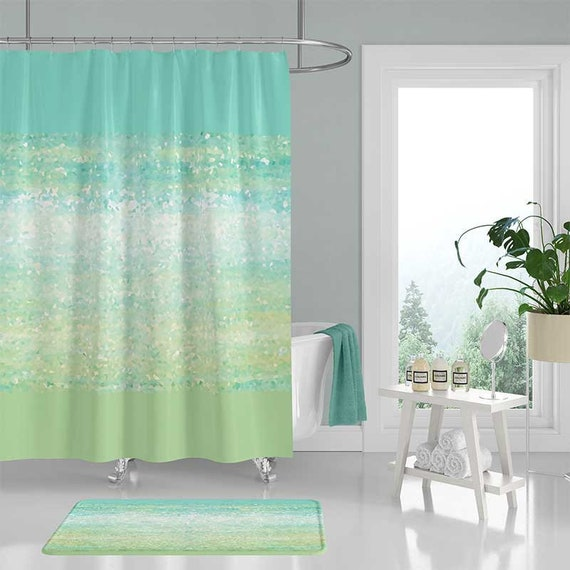 Blue Green Shower Curtain Beach Bathroom Decor Rug