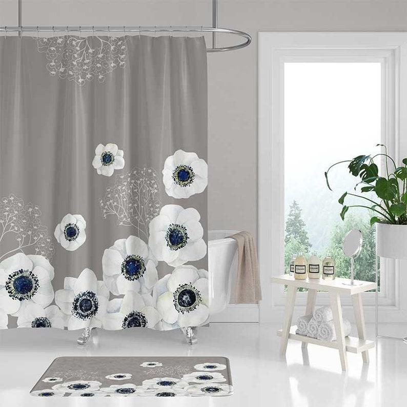Beige Gray Shower Curtain Set Bath Mat Grey Blue White Floral Shower Curtain Bathroom Decor Boho Shower Curtains Bathroom Rug Bath Curtain