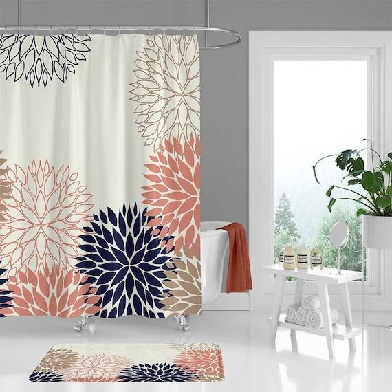 Pink Shower Curtain Bath Mat Bathroom Decor Navy Blue | Etsy