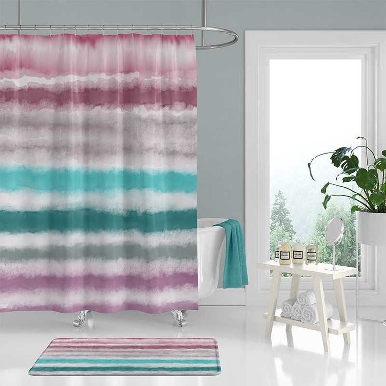 Watercolor Shower Curtain And Bath Mat Set Purple Mauve Teal Blue Pink Striped Art Bathroom