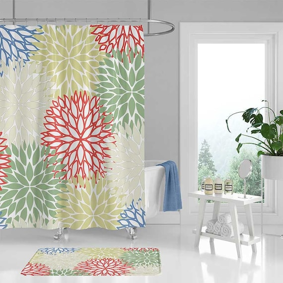 Green Shower Curtain And Bath Mat Floral Blue