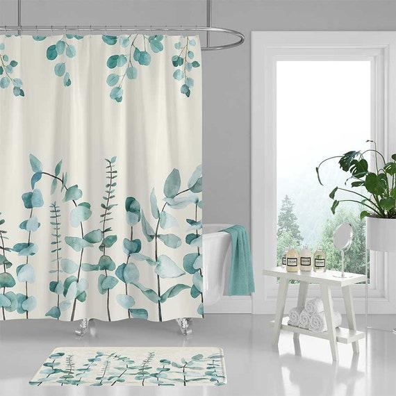 Green Leaves Shower Curtain Blue Bath Mat Floral