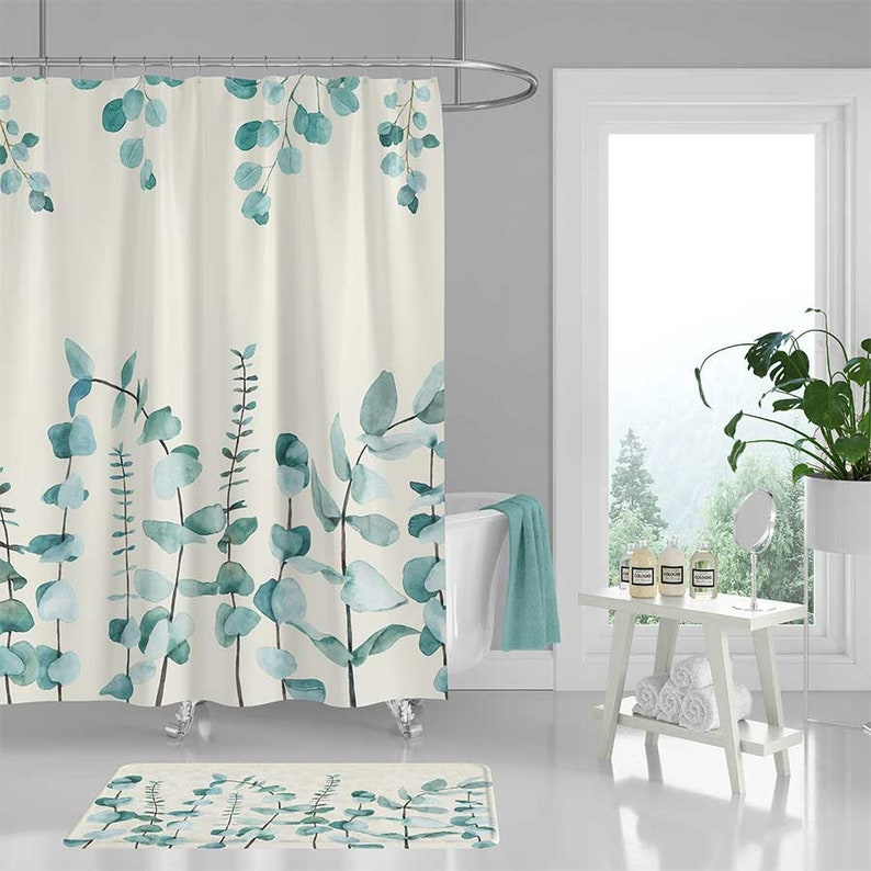 Green Leaves Shower Curtain Blue Bath Mat Floral Plants Botanical Watercolor Bathroom Decor Gift