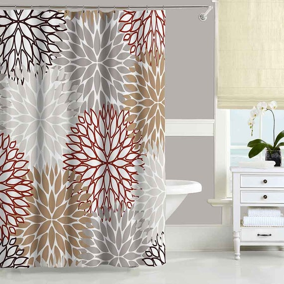 Beige Brown Shower Curtain Neutral Red Gray Bathroom