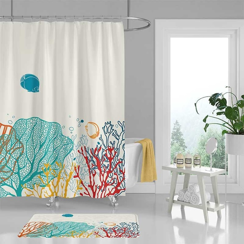 Ocean Shower Curtain Coral Reef Colorful Tropical Fish