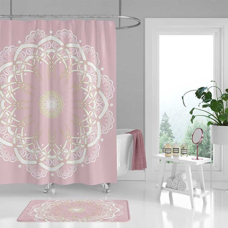 Pink Shower Curtain Set Bath Mat Mandala