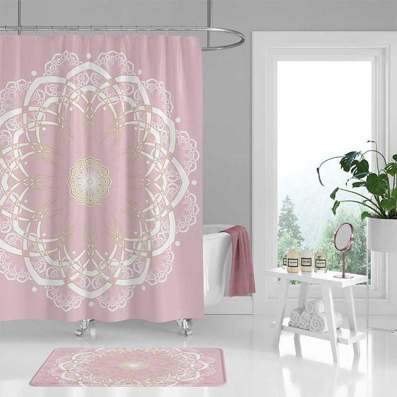 Pink Shower Curtain Set Bath Mat Mandala