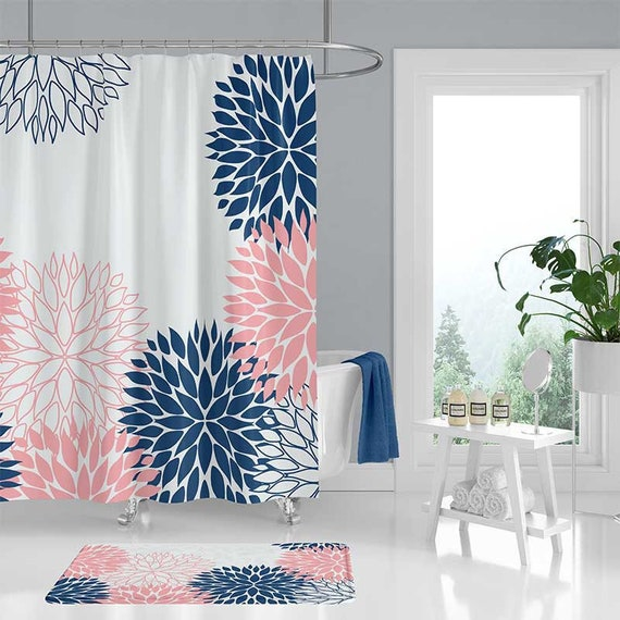 Blue And Pink Shower Curtain Bath Mat Set Navy