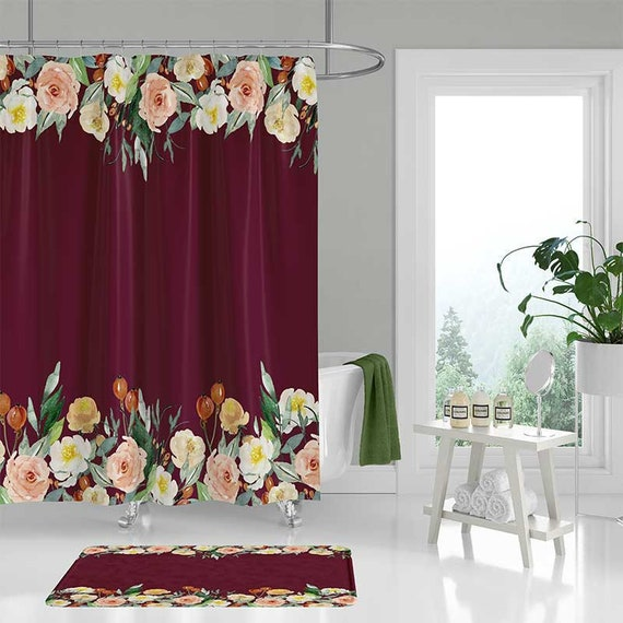 Shower Curtain Set With Bath Mat Burgundy Shower Curtain With | Etsy