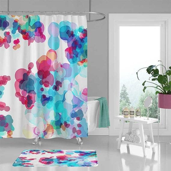 Rideau de douche aquarelle, tapis de salle de bain, tapis de ...