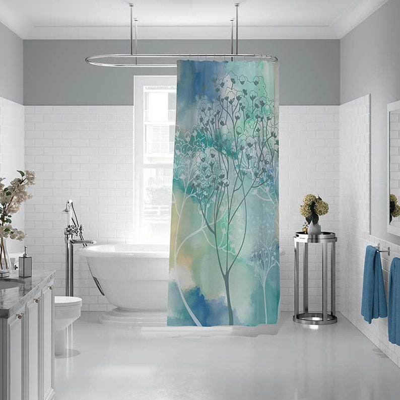 Art Shower Curtain with Trees, Bath Mat, Bathroom Set, Bath Curtain, White  Gray Aqua Blue Teal Watercolor Shower Curtain, Bathroom Decor